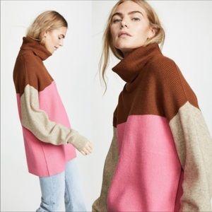 Free People Softly Structured Color Block Sweater Oversized Turtleneck Tunic SzL